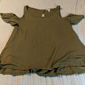 Army Green Cold Shoulder Tee